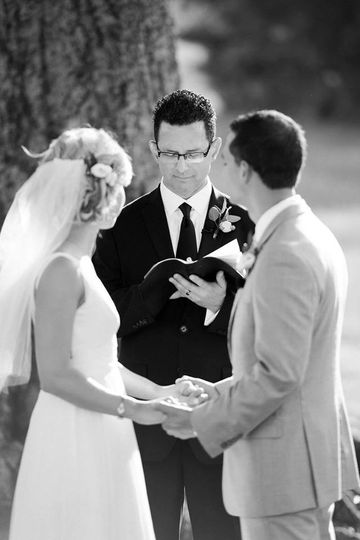 Black and white photo of the wedding ceremony
