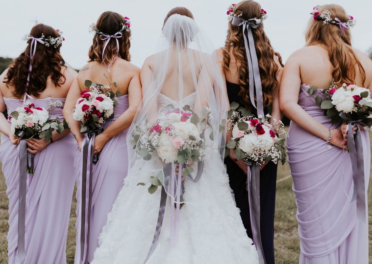 Bridesmaid bouquets and flower crowns