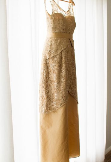 Original gold lace and silk gown. Photo by Little House Studio