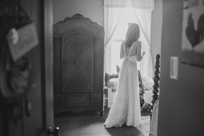original wedding gown made with heirloom lace and pearl beads.