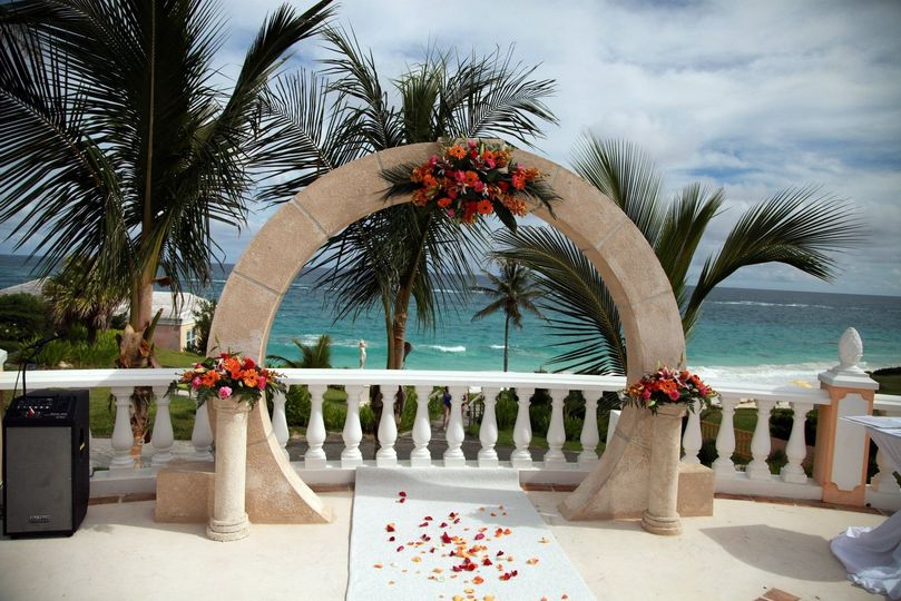 Wedding arch and flowers