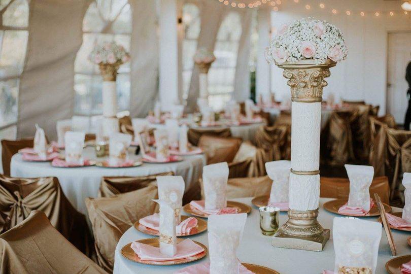 Elegant table setup with flower centerpiece