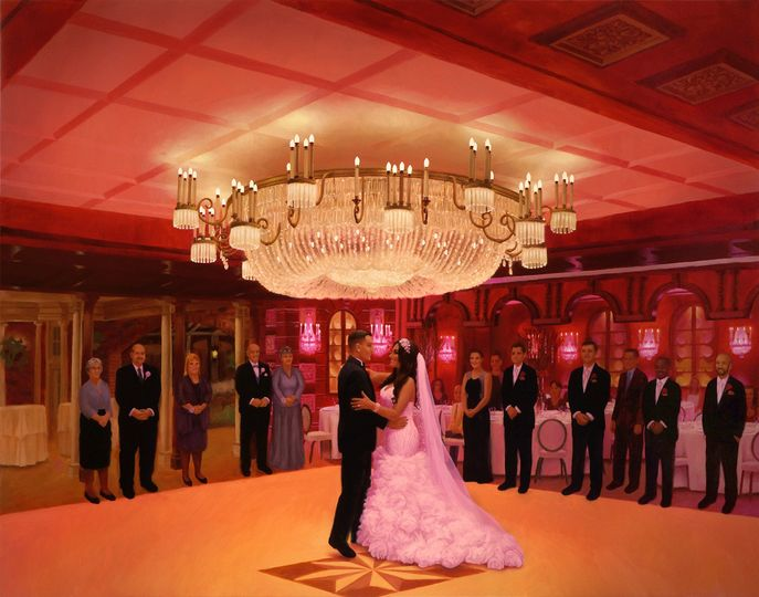 Live event painting of Katie and Colin's first dance