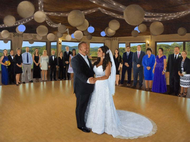 Live event painting of Elena and Johnny's first dance