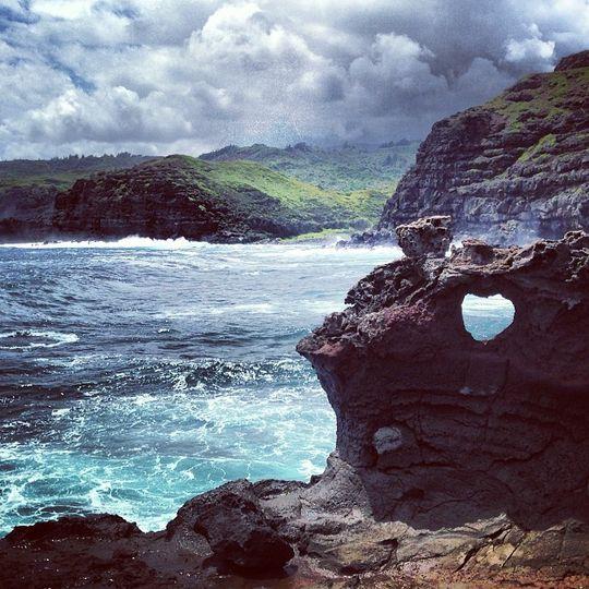 Heart shaped rock in maui