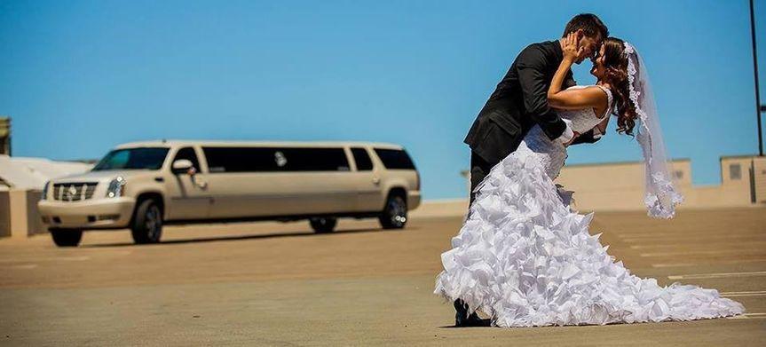 Newlyweds and limo