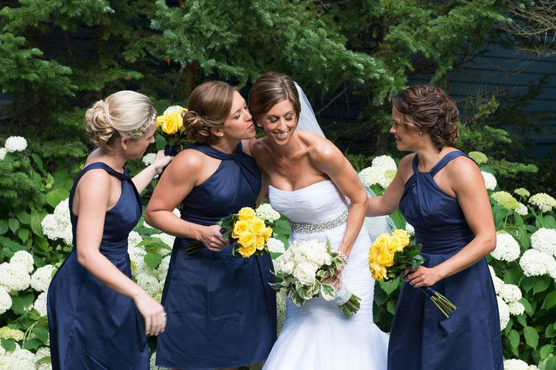 The bride and friends
