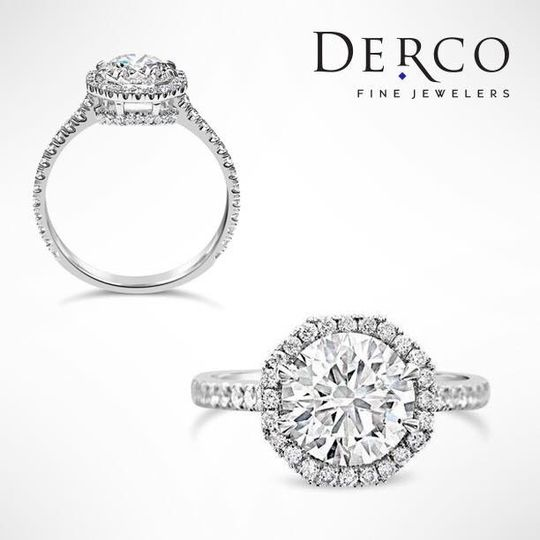 One of our recent custom designs in this diamond engagement ring with hexagonal halo