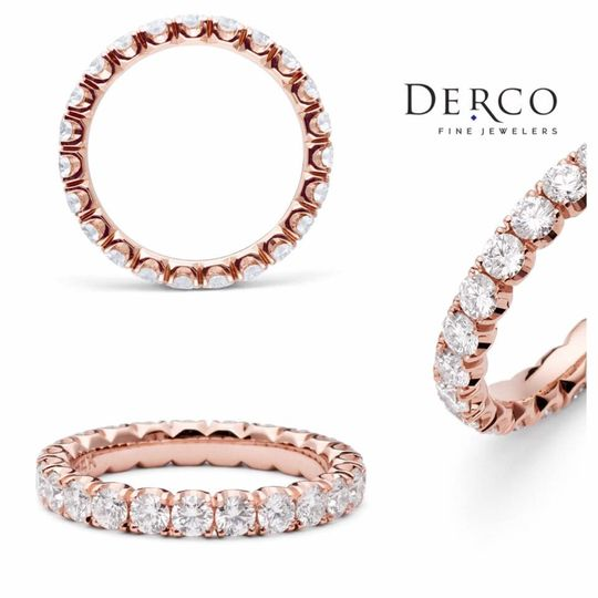 Derco's queen cut diamond rose gold band is inspired by the crown of the queen ??! Each angle of the...