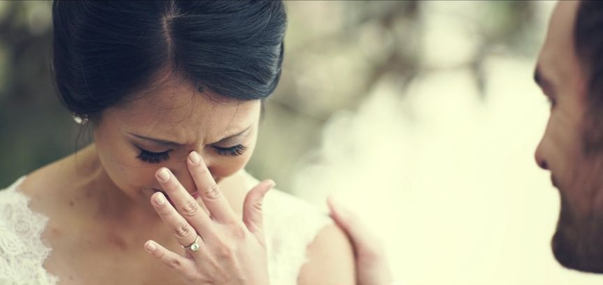 The bride crying