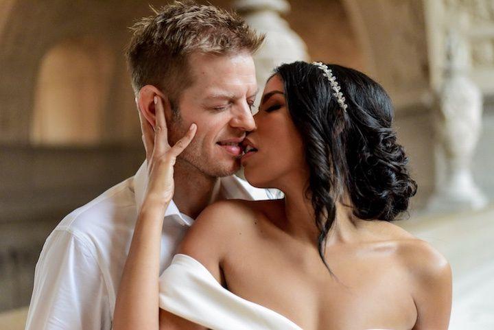 Passionate newlyweds