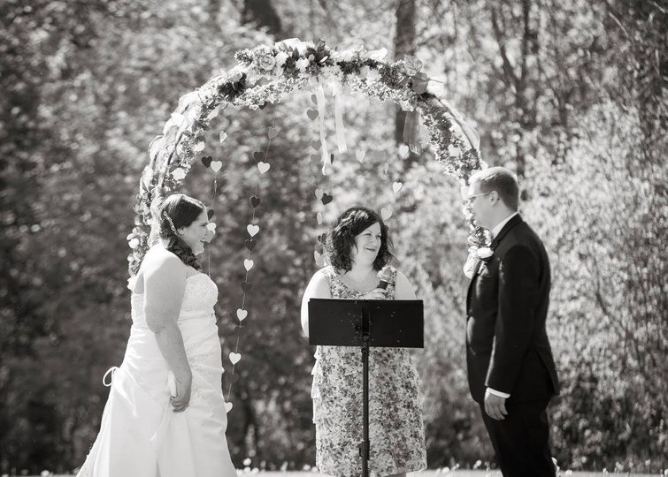 Black and white park wedding
