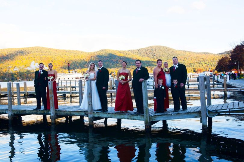 Couple along with bridesmaid and groomsmen portrait