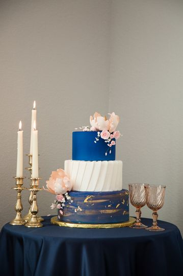 Three-layered wedding cake
