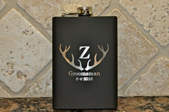 8oz rubber coated flask customized for an outdoor wedding. Many style options to choose from.