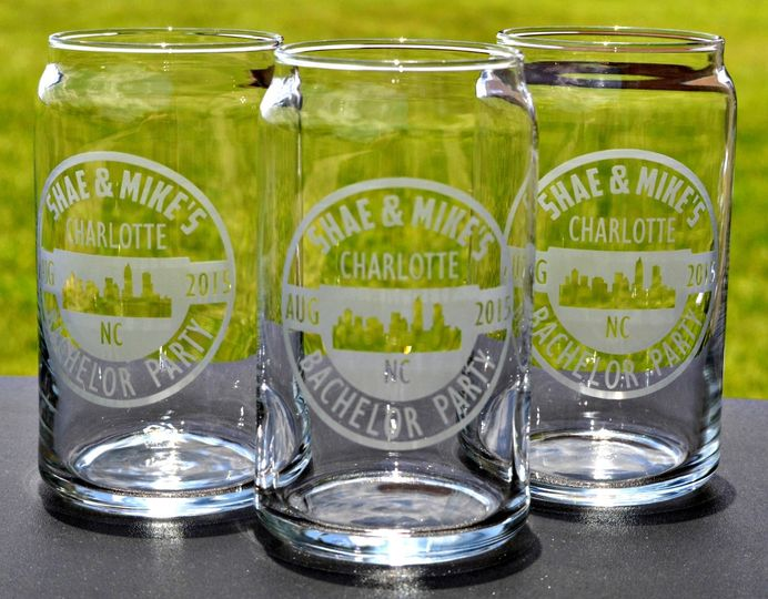 Custom Beer Can Glasses.  Sand carved with the Bachelor Party's logo.