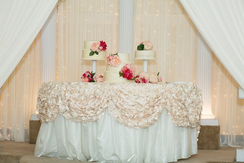 Floral decor on cake table