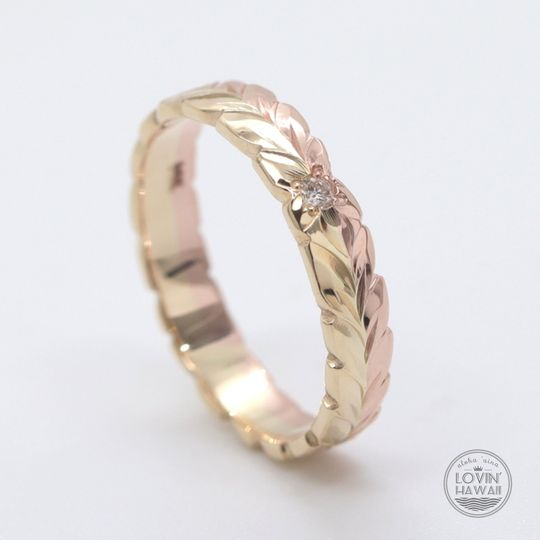 Diamond two tone Hawaiian ring