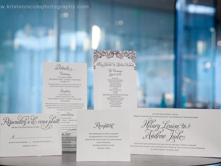 Tmx 1351814300218 HilaryandAndrewweddinginvitationensembleandotherstationeryitems Holt wedding invitation