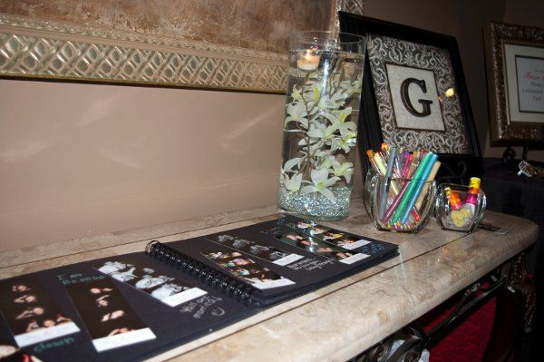 Guests love our scrapbook option with black pages and colorful pens! - Keepsake Photo Booth Memphis,...