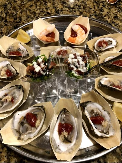 Seafood passed appetizers