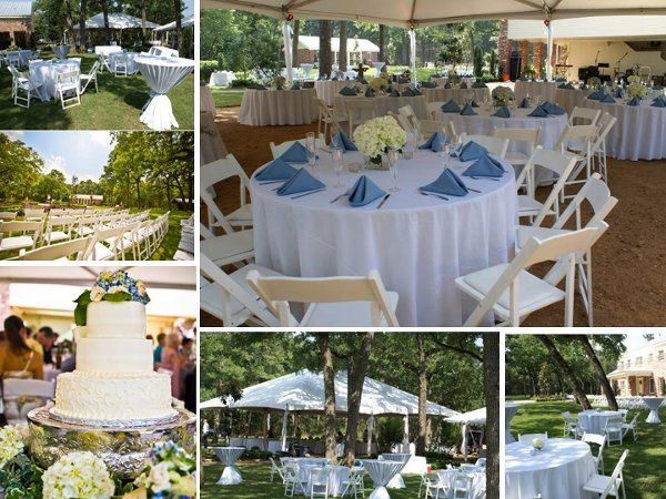 Outdoor wedding. Tables, chairs, linen, centerpieces, buffet displays, tents, place settings