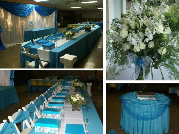 Quinceanera.  Full Set-Up, Table, chair and linen rentals.  Centerpieces, Live Florals, Backdrop