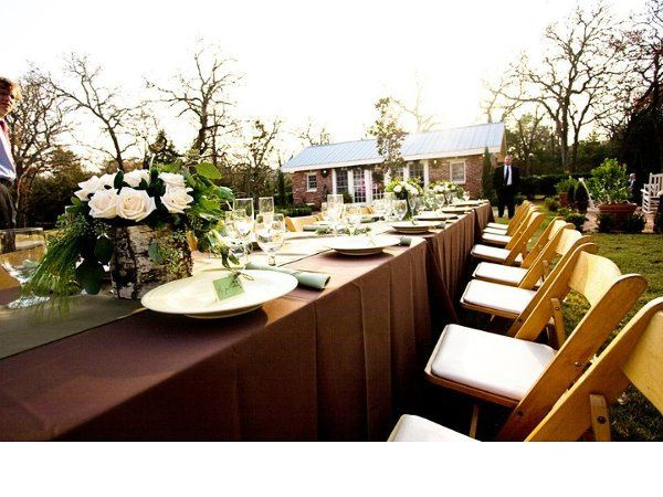 Outdoor Wedding- all rentals provided, centerpices created, and full service set up. Photo by:...