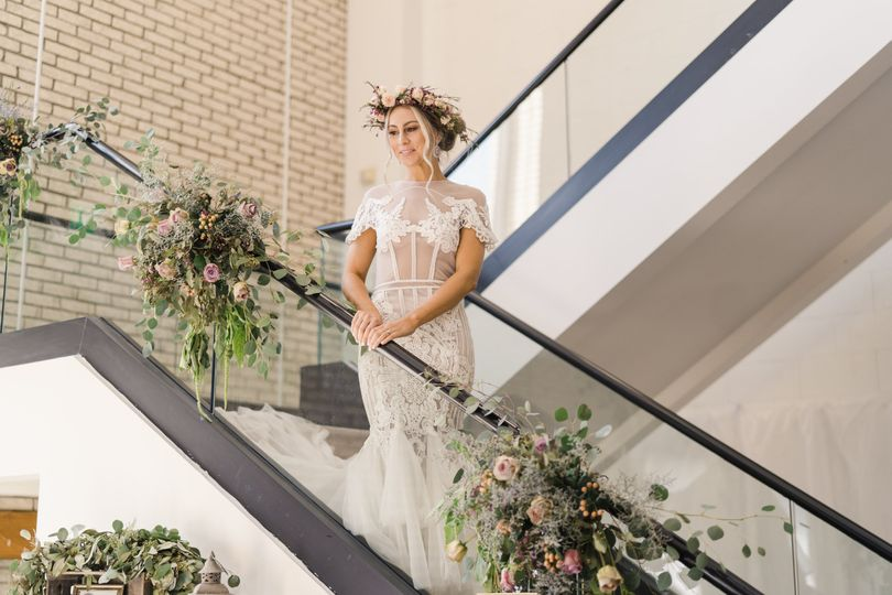 Staircase with elegant bride