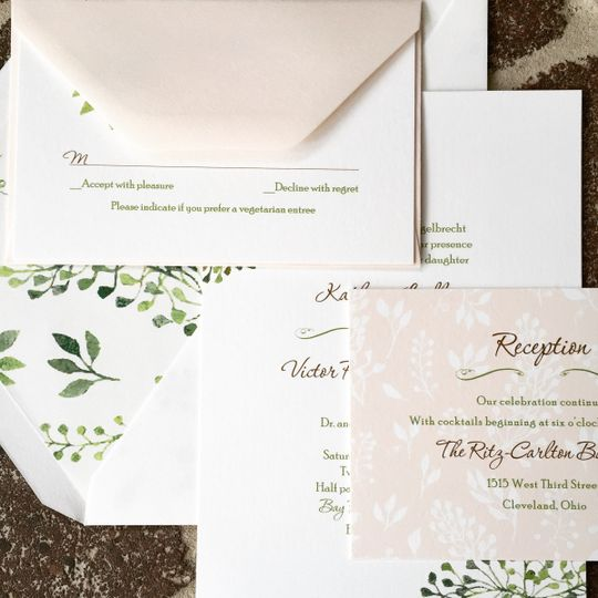 Cotton Ink gorgeous green and blush florals wedding invitation suite