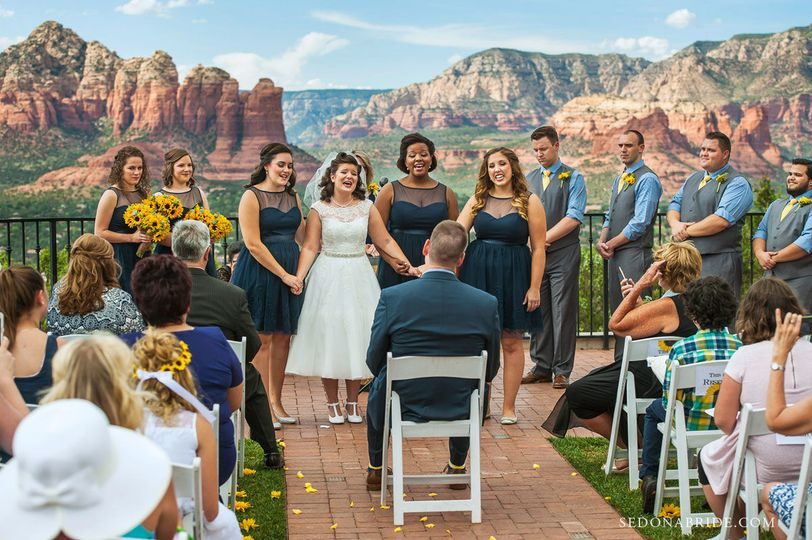 Sedona wedding ceremony at Sky Ranch Lodge. Photos by Katrina and Andrew at Sedona Bride...