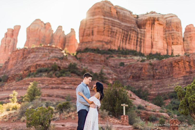 Engagement photos at Cathedral Rock in Sedona by Katrina at Sedona Bride Photographers