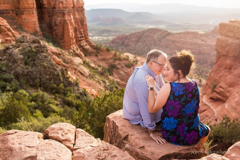 Sedona engagement session on Cathedral Rock ... photos by Sedona Bride Photographers