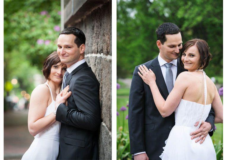 bride and groom in boston public garden