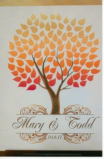 An alternative to the traditional guestbook. The guests signed the leaves.