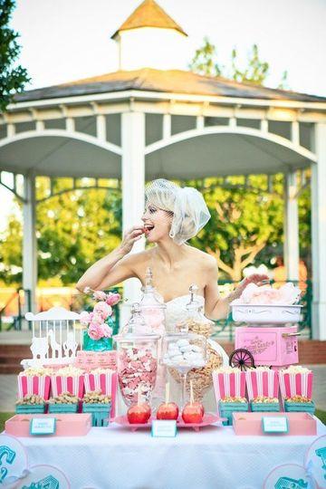 Bride enjoying desserts
