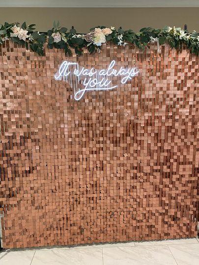 Rose Gold Backdrop + Neon
