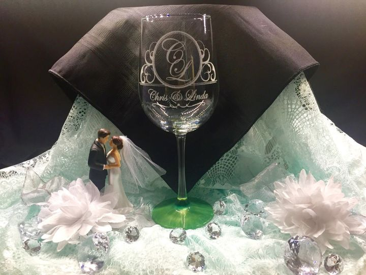 A creative design for the bride and groom with their initials