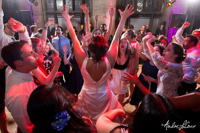 Bride dancing with guests at the University Club of Chicago