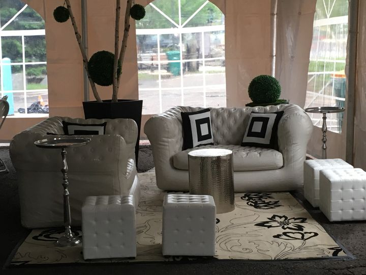 Lounge area in a tent