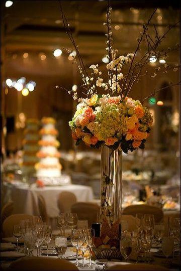 Tall glass vase