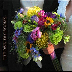 Alaskan Style vibrant color bouquet incorporating locally grown Alaskan product with Pincushion...