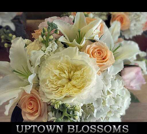 Bouquet with fragrant Garden Roses, Hydrangea, Roses, Lilies and fragrant Stock