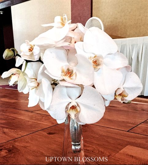 Bridal bouquet of Phaleonopsis Orchids in a decorative silver holder.