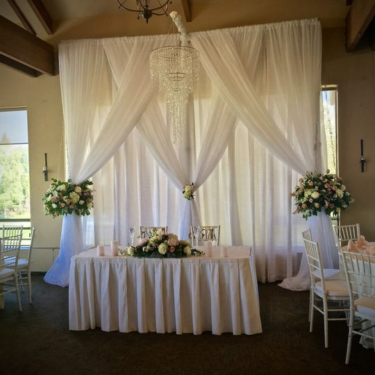 Romantic setting for the bride and groom.