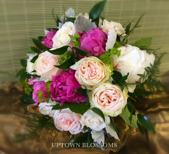 Beautiful Garden Spirit Roses with Peonies and other accent flowers.