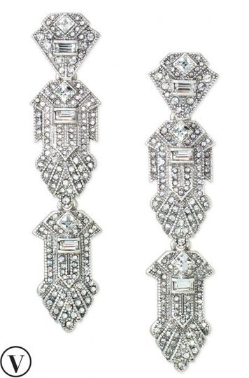 CASABLANCA CHANDELIERS EARRINGS  We adore these Art Deco inspired, pavé-encrusted, geometric...