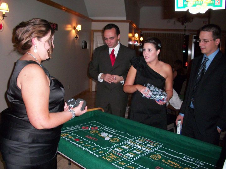 """I created a variety of table games for this fun """"Casino Royale"""" themed engagement party."""