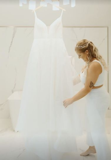 Admiring the gown