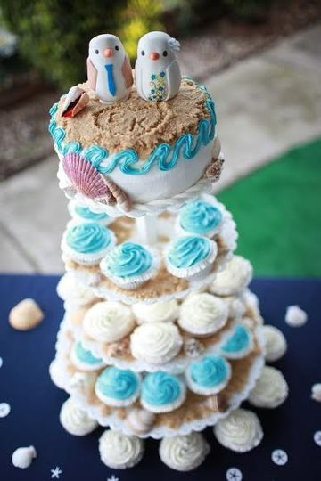 Cupcake tower with cake top layer